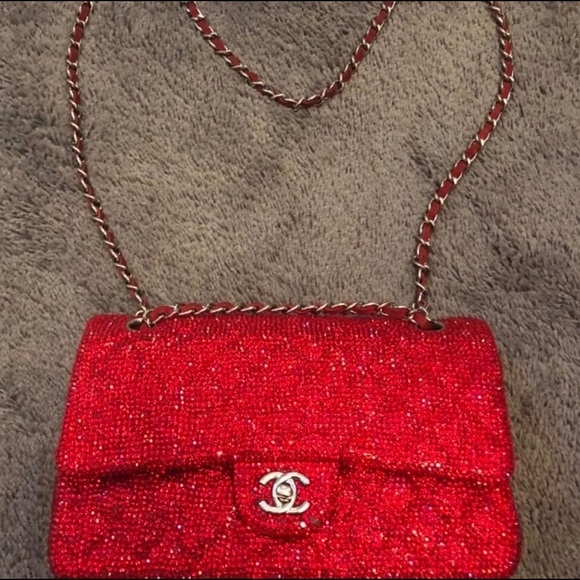CHANEL Handbags - Authentic Chanel in red with crystals medium flap! 00ef27a0fe